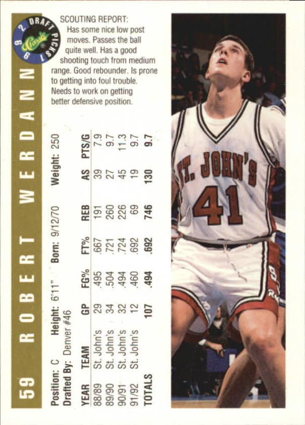 1992 Classic Gold #59 Robert Werdann back image