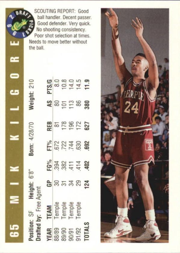 1992 Classic Gold #65 Mik Kilgore back image