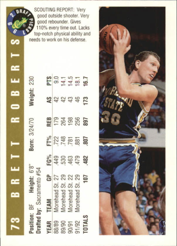 1992 Classic Gold #73 Brett Roberts back image