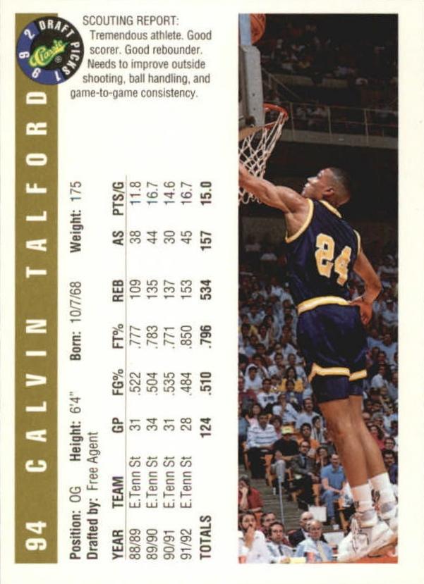 1992 Classic Gold #94 Calvin Talford back image