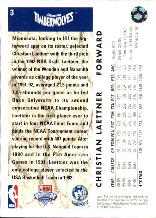 1992-93 Upper Deck #3 Christian Laettner RC back image