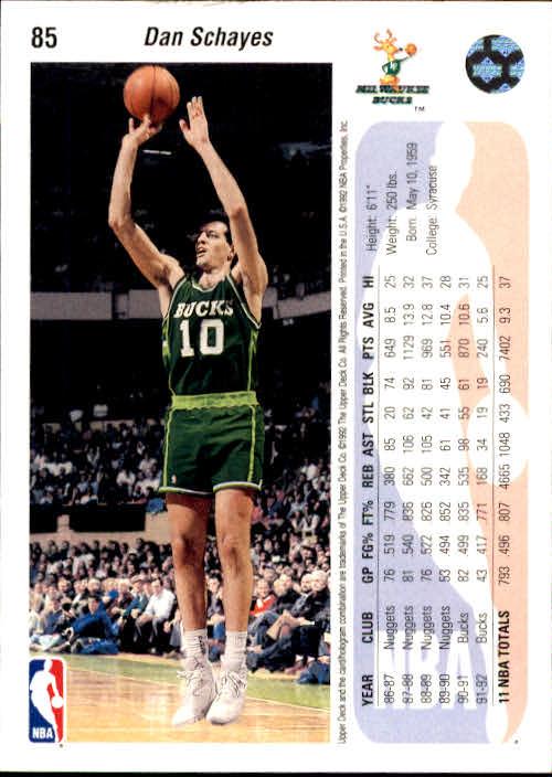 1992-93 Upper Deck #85 Danny Schayes back image