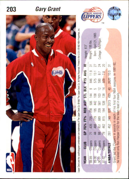 1992-93 Upper Deck #203 Gary Grant back image