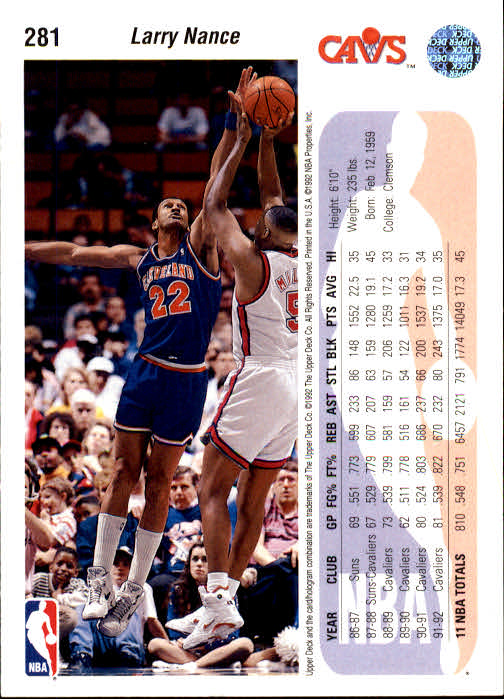 1992-93 Upper Deck #281 Larry Nance/Michael Jordan back image