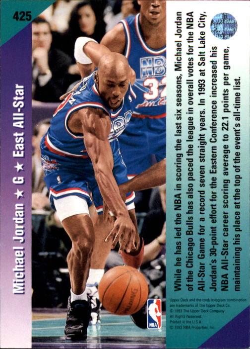 1992-93 Upper Deck #425 Michael Jordan AS back image
