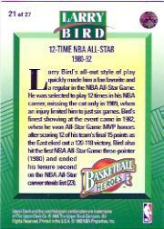 1992-93 Upper Deck Larry Bird Heroes #21 Larry Bird/1980-92 12-Time All-Star back image