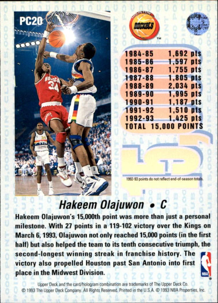 1992-93 Upper Deck 15000 Point Club #PC20 Hakeem Olajuwon back image
