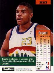 1992-93 SkyBox #337 Bryant Stith SP RC back image