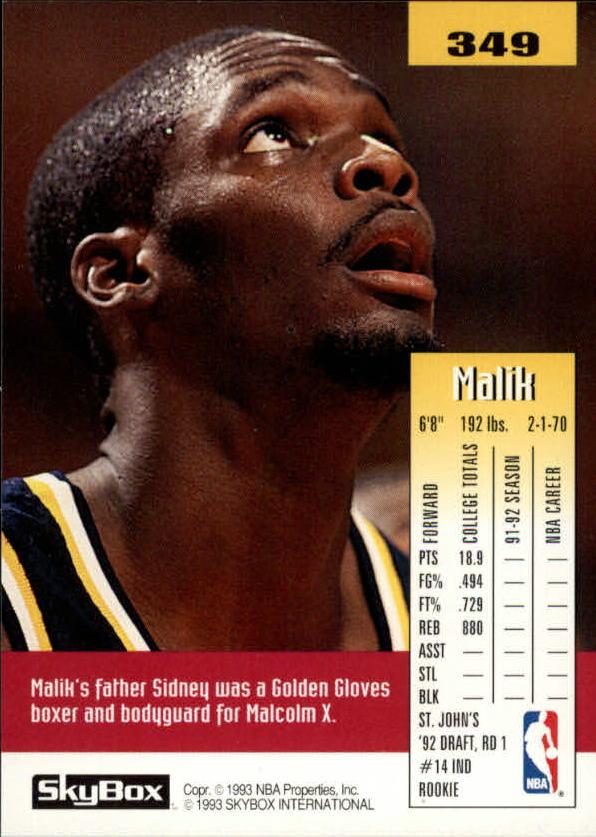 1992-93 SkyBox #349 Malik Sealy SP RC back image