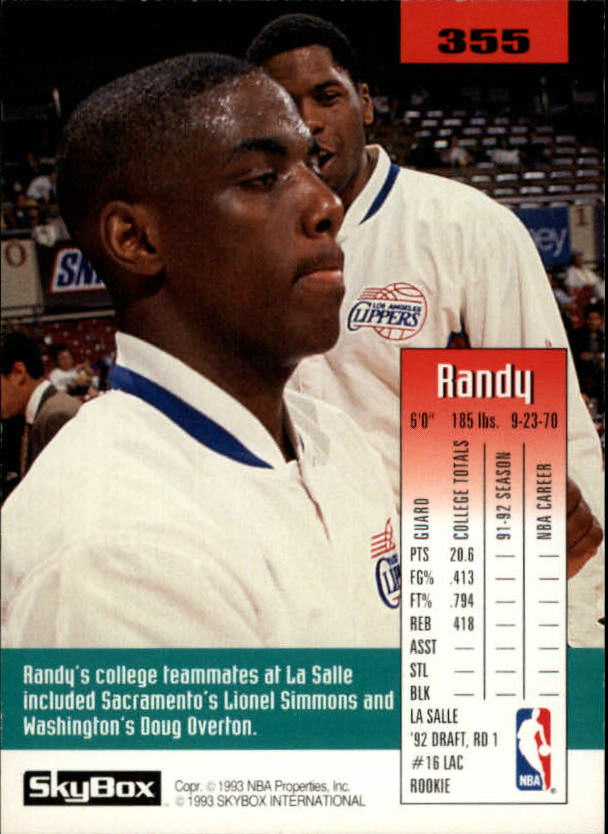 1992-93 SkyBox #355 Randy Woods SP RC back image