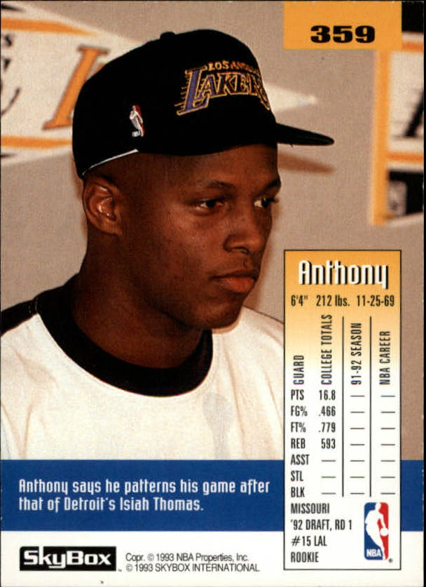 1992-93 SkyBox #359 Anthony Peeler SP RC back image