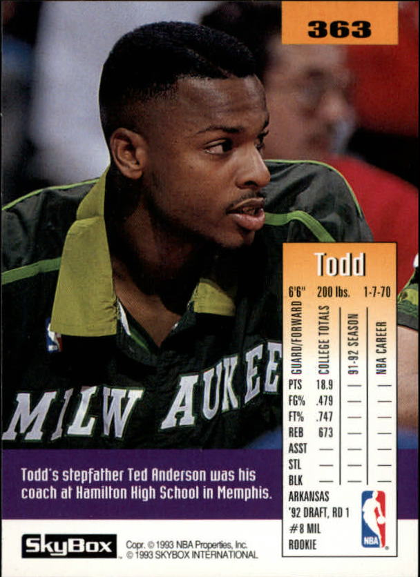 1992-93 SkyBox #363 Todd Day SP RC back image