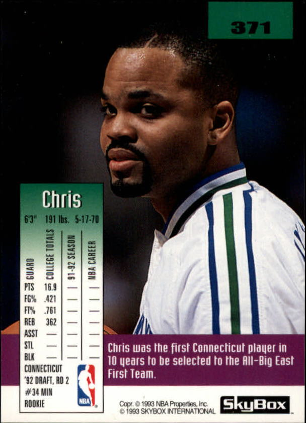 1992-93 SkyBox #371 Chris Smith SP RC back image
