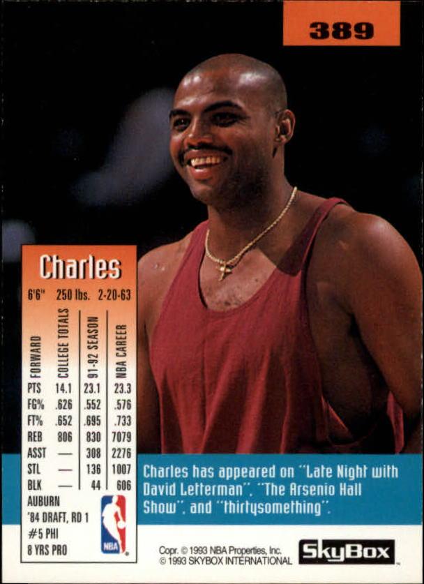 1992-93 SkyBox #389 Charles Barkley back image
