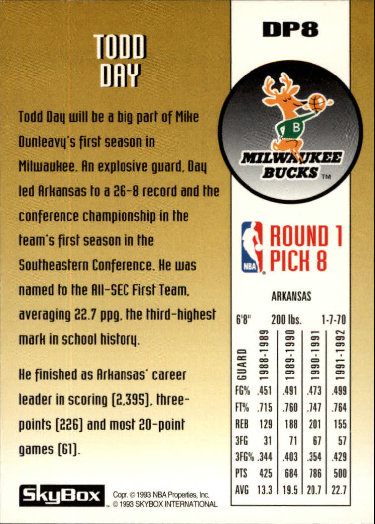 1992-93 SkyBox Draft Picks #DP8 Todd Day back image