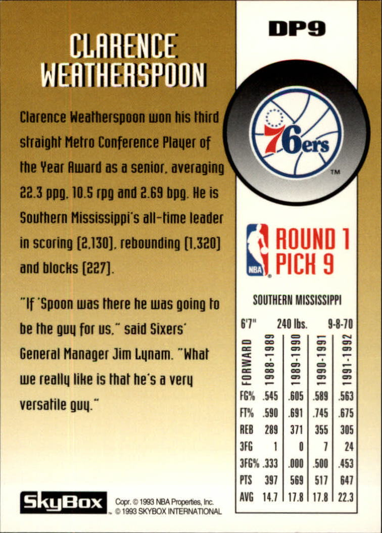 1992-93 SkyBox Draft Picks #DP9 Clarence Weatherspoon back image