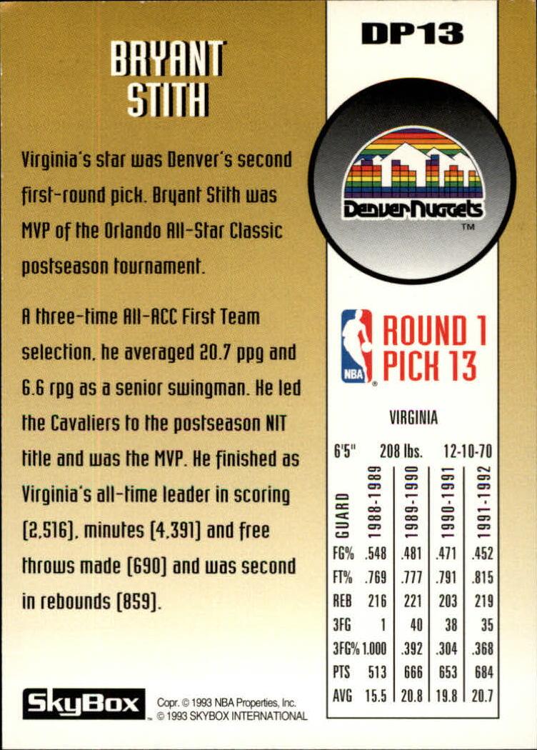 1992-93 SkyBox Draft Picks #DP13 Bryant Stith back image
