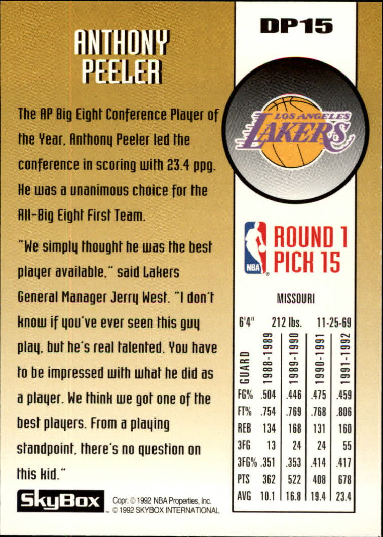 1992-93 SkyBox Draft Picks #DP15 Anthony Peeler back image