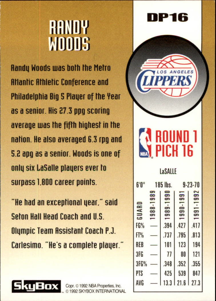 1992-93 SkyBox Draft Picks #DP16 Randy Woods back image