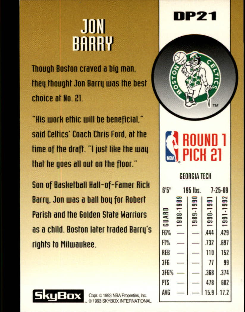 1992-93 SkyBox Draft Picks #DP21 Jon Barry back image