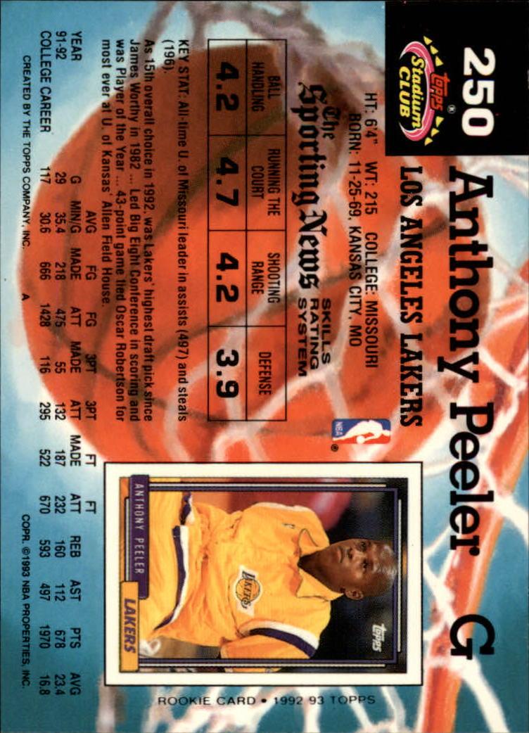 1992-93 Stadium Club #250 Anthony Peeler RC back image