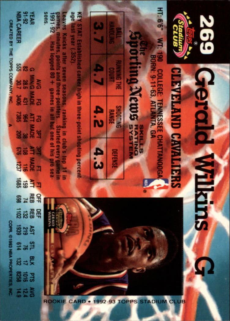 1992 93 Stadium Club 269 Gerald Wilkins NM MT Diamonds in the