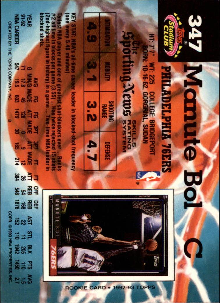 1992-93 Stadium Club #347 Manute Bol back image