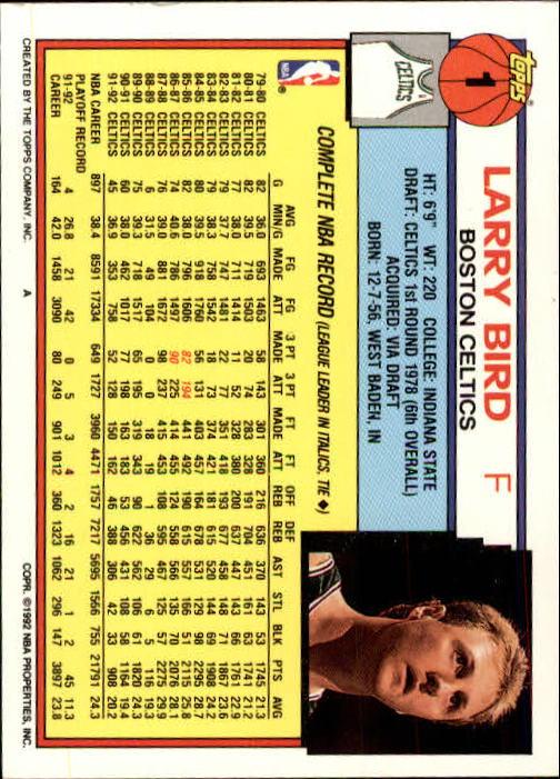 1992-93 Topps #1 Larry Bird back image