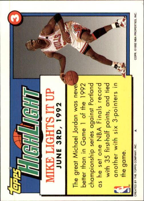 1992-93 Topps #3 Michael Jordan HL/Michael Lights It Up 6/3/92 back image