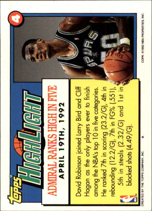 1992-93 Topps #4 David Robinson HL/Admiral Ranks High In Five 4/19/92 back image