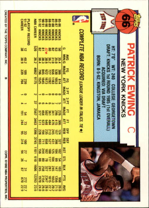 1992-93 Topps #66 Patrick Ewing back image