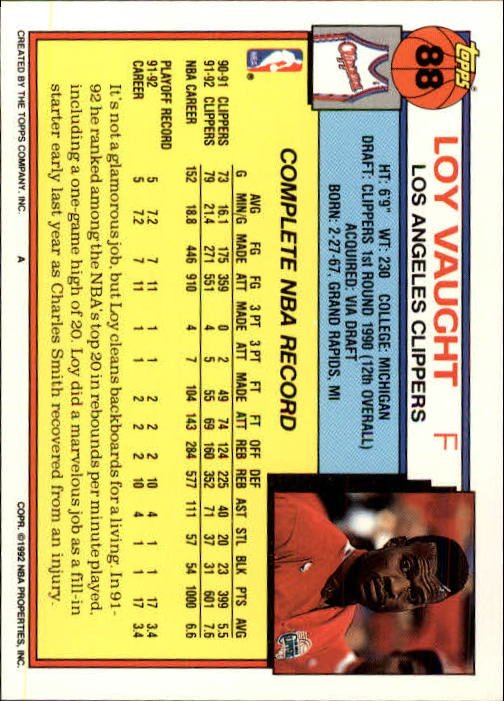 1992-93 Topps #88 Loy Vaught back image