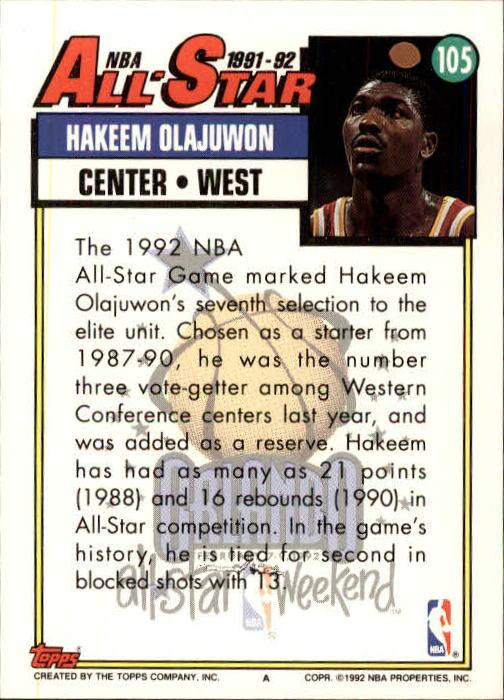 1992-93 Topps #105 Hakeem Olajuwon AS back image
