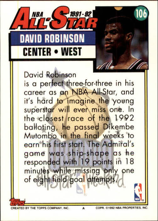 1992-93 Topps #106 David Robinson AS back image