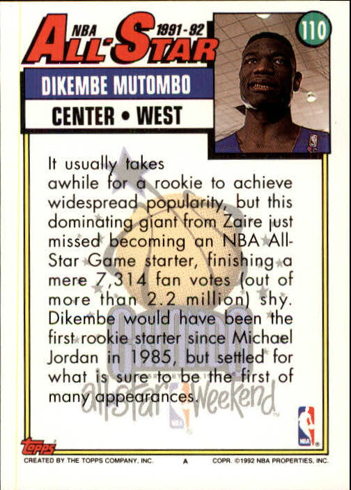 1992-93 Topps #110 Dikembe Mutombo AS back image