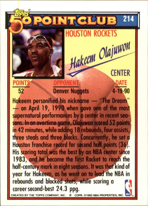 1992-93 Topps #214 Hakeem Olajuwon 50P back image
