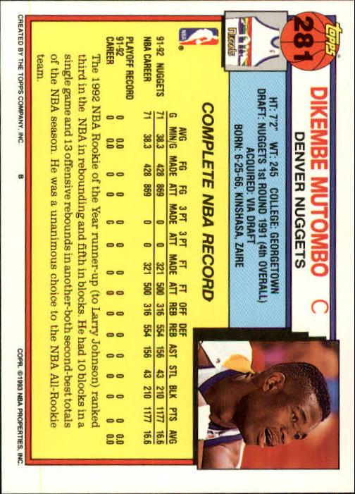 1992-93 Topps #281 Dikembe Mutombo back image