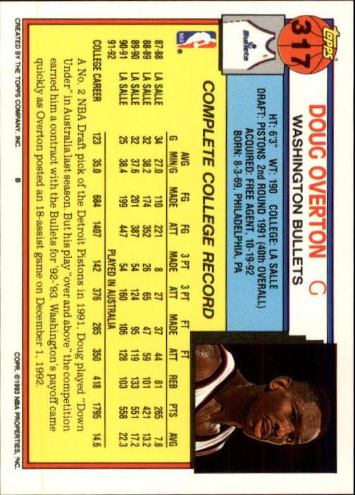 1992-93 Topps #317 Doug Overton back image