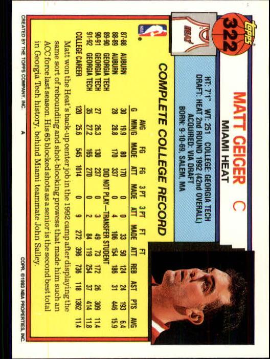 1992-93 Topps #322 Matt Geiger RC back image