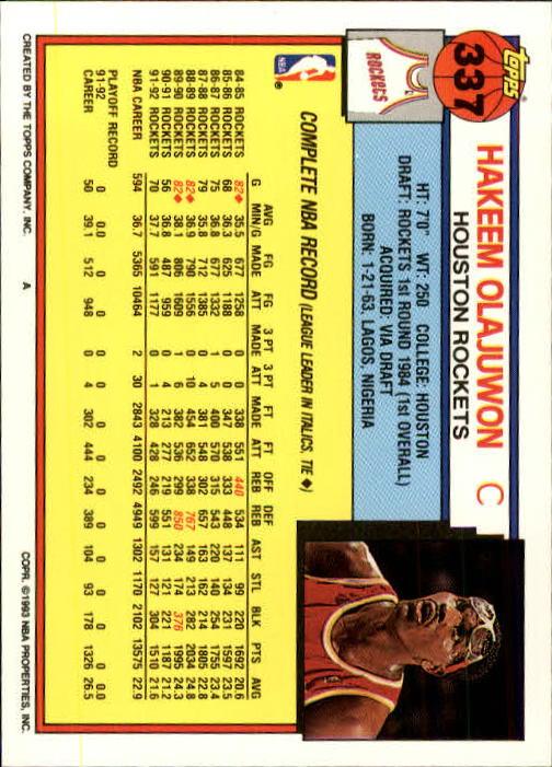 1992-93 Topps #337 Hakeem Olajuwon back image