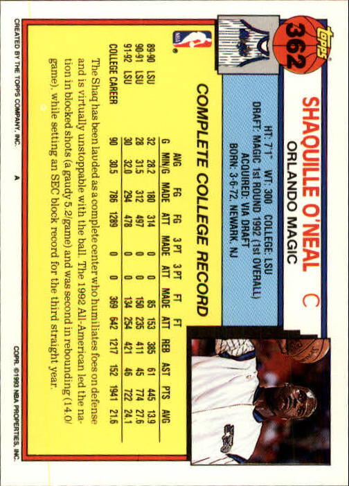 1992-93 Topps #362 Shaquille O'Neal RC back image