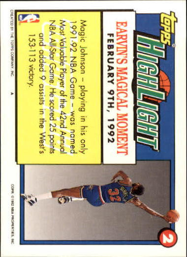 1992-93 Topps Gold #2 Magic Johnson HL/Earvin's Magical/Moment 2/9/92 back image