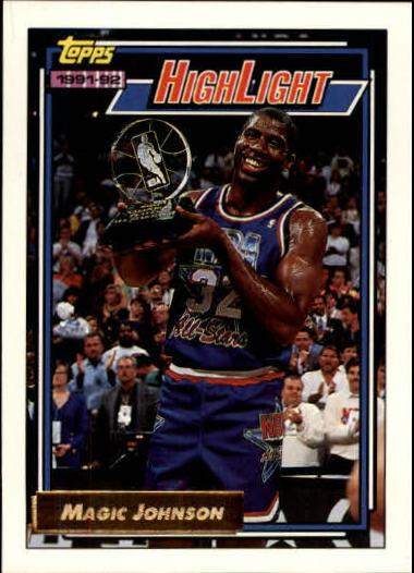1992-93 Topps Gold #2 Magic Johnson HL/Earvin's Magical/Moment 2/9/92