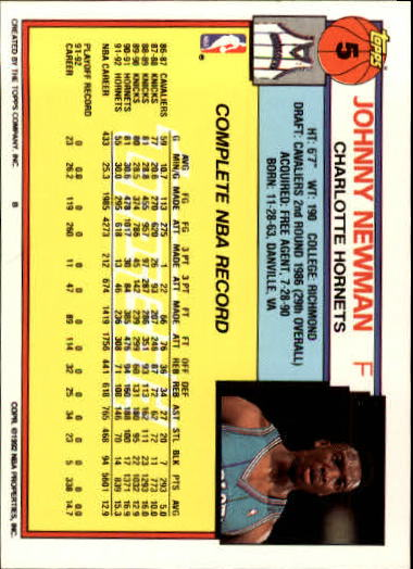 1992-93 Topps Gold #5 Johnny Newman back image