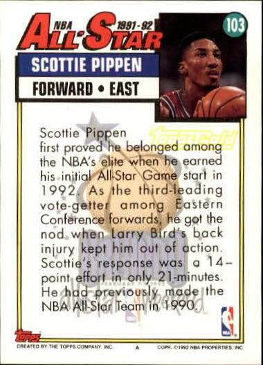 1992-93 Topps Gold #103 Scottie Pippen AS back image