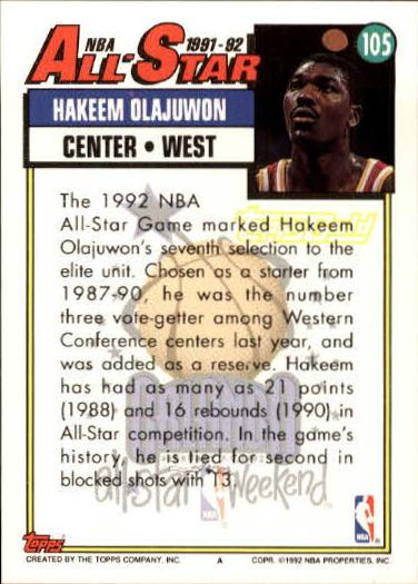 1992-93 Topps Gold #105 Hakeem Olajuwon AS back image