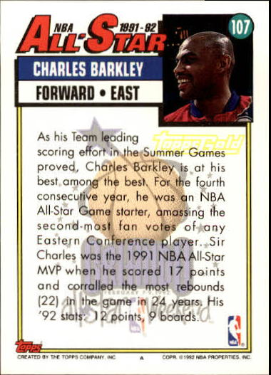 1992-93 Topps Gold #107 Charles Barkley AS back image