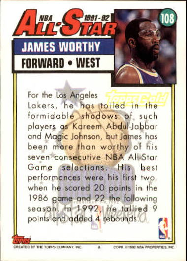 1992-93 Topps Gold #108 James Worthy AS back image