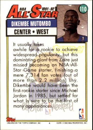 1992-93 Topps Gold #110 Dikembe Mutombo AS back image