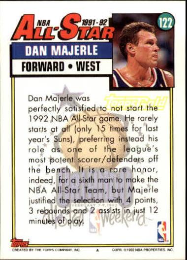 1992-93 Topps Gold #122 Dan Majerle AS back image